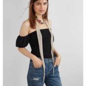 NWOT Express puff sleeve off the shoulder top